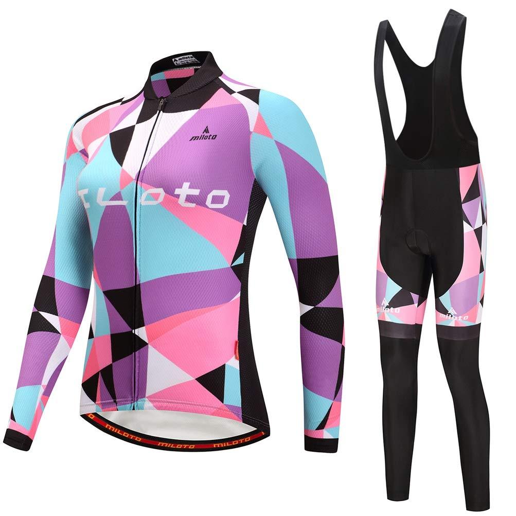 bluee Purple Uriah Women's Cycling Jersey and Black Bib Pants Thermal Fleece Sets Long Sleeve Reflective