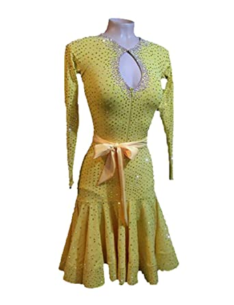 4788db994 Image Unavailable. Image not available for. Color: Latin Dance Dress for  Women Yellow Low Chest Ballroom Tango Swing Rumba Chacha Dancing Costume  Dress
