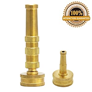 Twinkle Star Solid Brass Heavy Duty Adjustable Twist Hose Nozzle Jet Sweeper Nozzle, TWIS3231