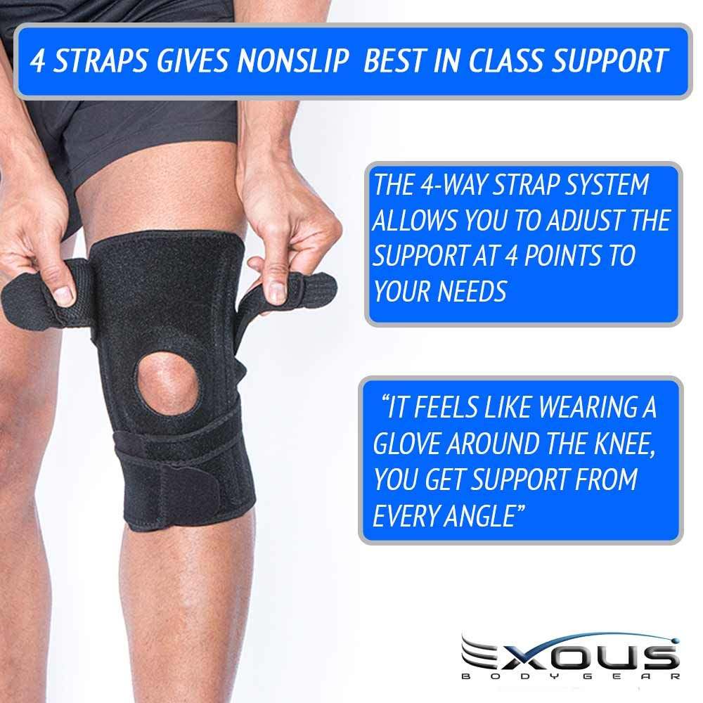 6b8c03813f EXOUS BODYGEAR Knee Support Brace With Lateral Stabilisers Anti-Slip Design  - Enhanced Comfort Helps With Patella Issues LCL/MCL Ligament Problems: ...