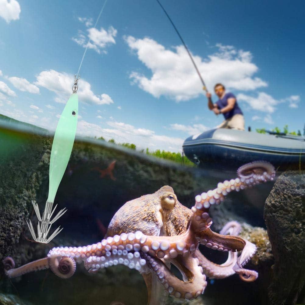 5 St/ücke 3D Leuchtende Durable Squid Jig Angelhaken Tintenfisch Tintenfisch /Ärmel Jig Angelzubeh/ör f/ür Salzwasser S/ü/ßwasserfischen Fischk/öder K/öder
