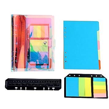 YHH Libretas Bonitas A5 Cuaderno Líneas/Rayas Diario de Viaje Organizador Personal Creativo con 6 Anillas/Papel Divisor/Índices/Regla/Notas Adhesivas ...