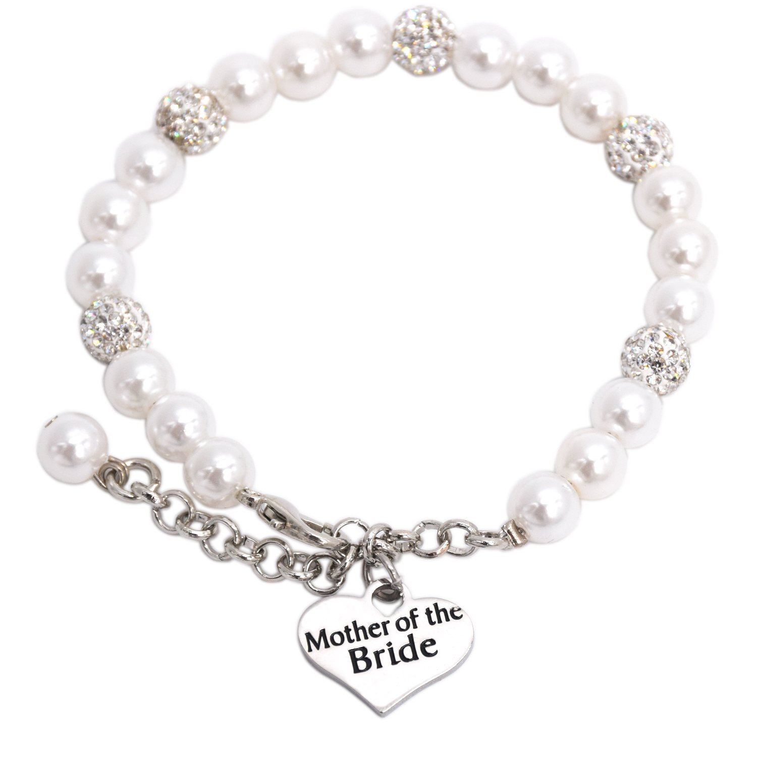 LParkin Mother of the Bride Pearl Bracelet (White)