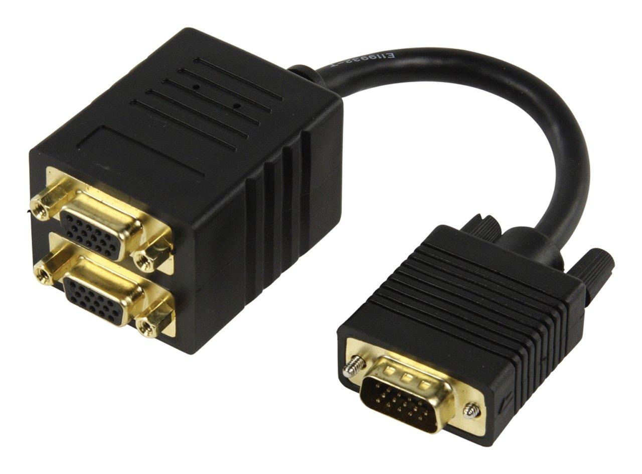 Valueline CABLE-560 VGA ré partiteur vidé o - Ré partiteurs vidé o (VGA, Or, 0,15 m, Noir) HQ Câble