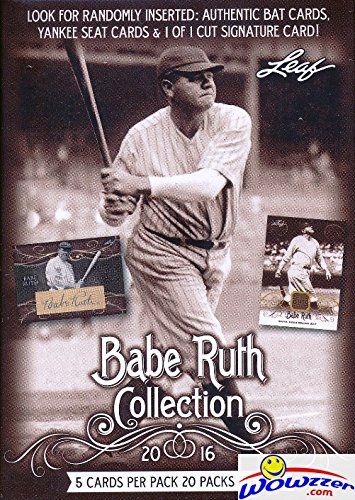 Wowzzer! 2016 Leaf Babe Ruth Collection HUGE Factory Sealed Box with 20 Packs & 100 Cards! Look for Authentic Bat Cards, Yankee Seat Cards & 1 of 1 Babe Ruth (Signature Saddle)