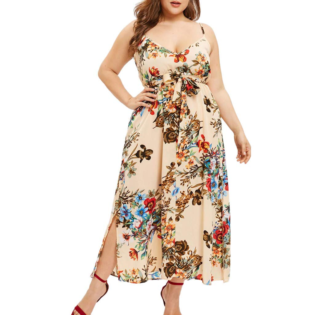 Neck Bohemian Printed Sling Waist Belted Long Dress SGMORE Womens Casual Sleeveless Plus Size Dresses,V