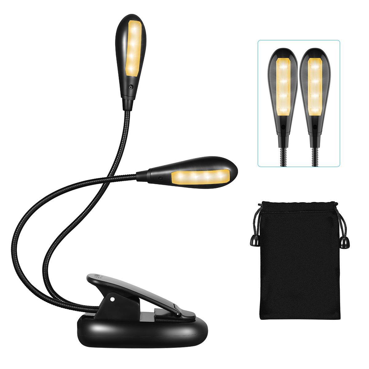 LED Buchlampe, TOPELEK Tragbare LED Doppelkopf Leselampe mit 8 LEDs, Wiederaufladbar und 360° Flexibel LED Klemmleuchten,Schreibtischleuchte, 5-Stufe Helligkeit, mit Netzteil und USB-Kabel, Arbeitsplatzleuchten mit Klemme für Nacht Lesen, Kindle, Notenstän