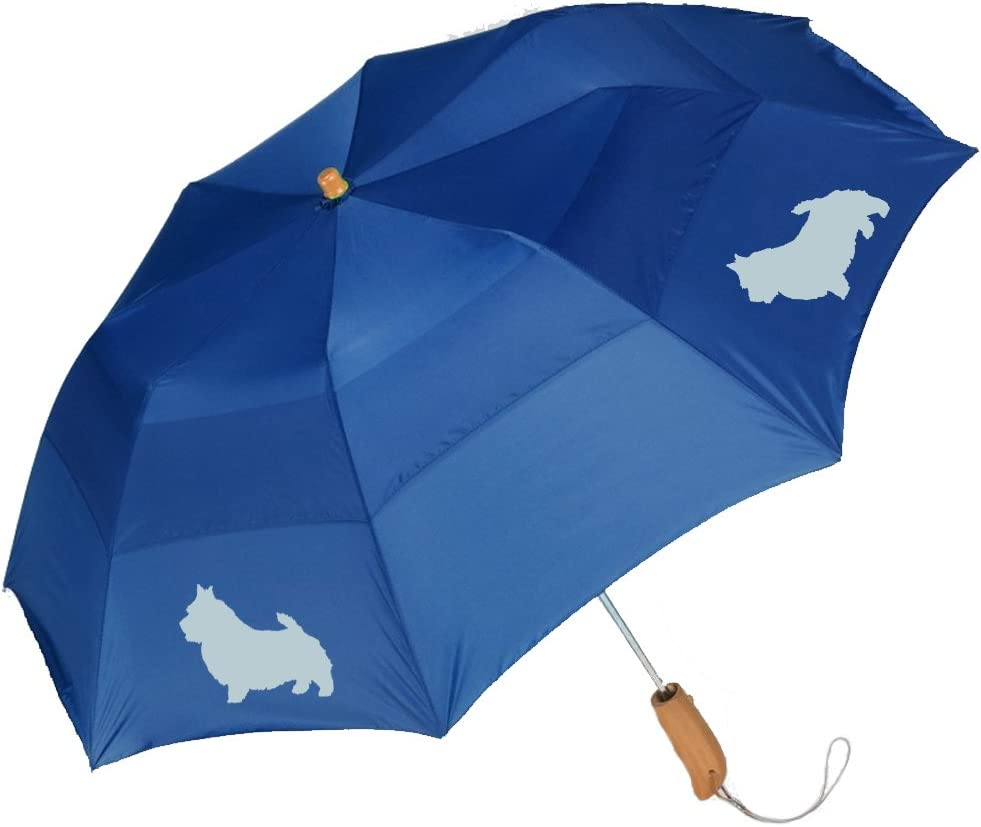 Peerless 43 Arc auto open folding umbrella with Norwich Terrier Silhouette