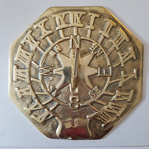 garden ornaments and accessories Large Octagonal Brass Sundial Plain 280mm