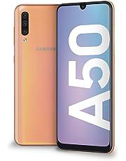 "Samsung Galaxy A50 Display 6.4"", 128 GB Espandibili, RAM 4 GB, Batteria 4000 mAh, 4G, Dual SIM Smartphone, Android 9 Pie, (2019) [Versione Italiana], Coral"