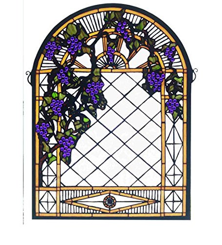 (Tiffany Style Grape Mond Trellis Stained Glass Window)