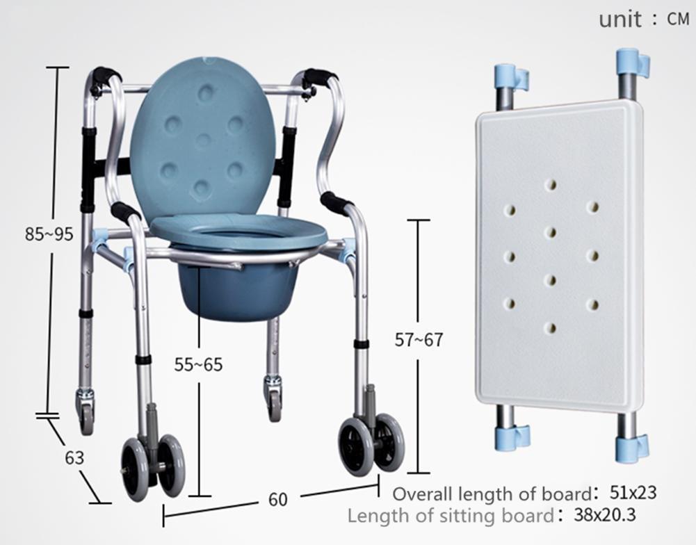 XYLUCKY Silla de paseo de peso ligero plegable Silla de cómoda de aluminio Silla de tocador de baño Silla de asiento Rueda / discapacidad Ayuda de ...