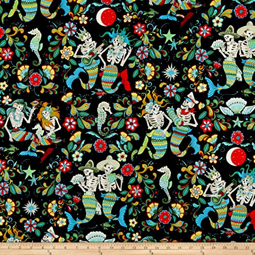 Alexander Fabric Henry (Alexander Henry Fabrics Esqueletos del Mar Skeletons Black/Multi Fabric by the Yard)