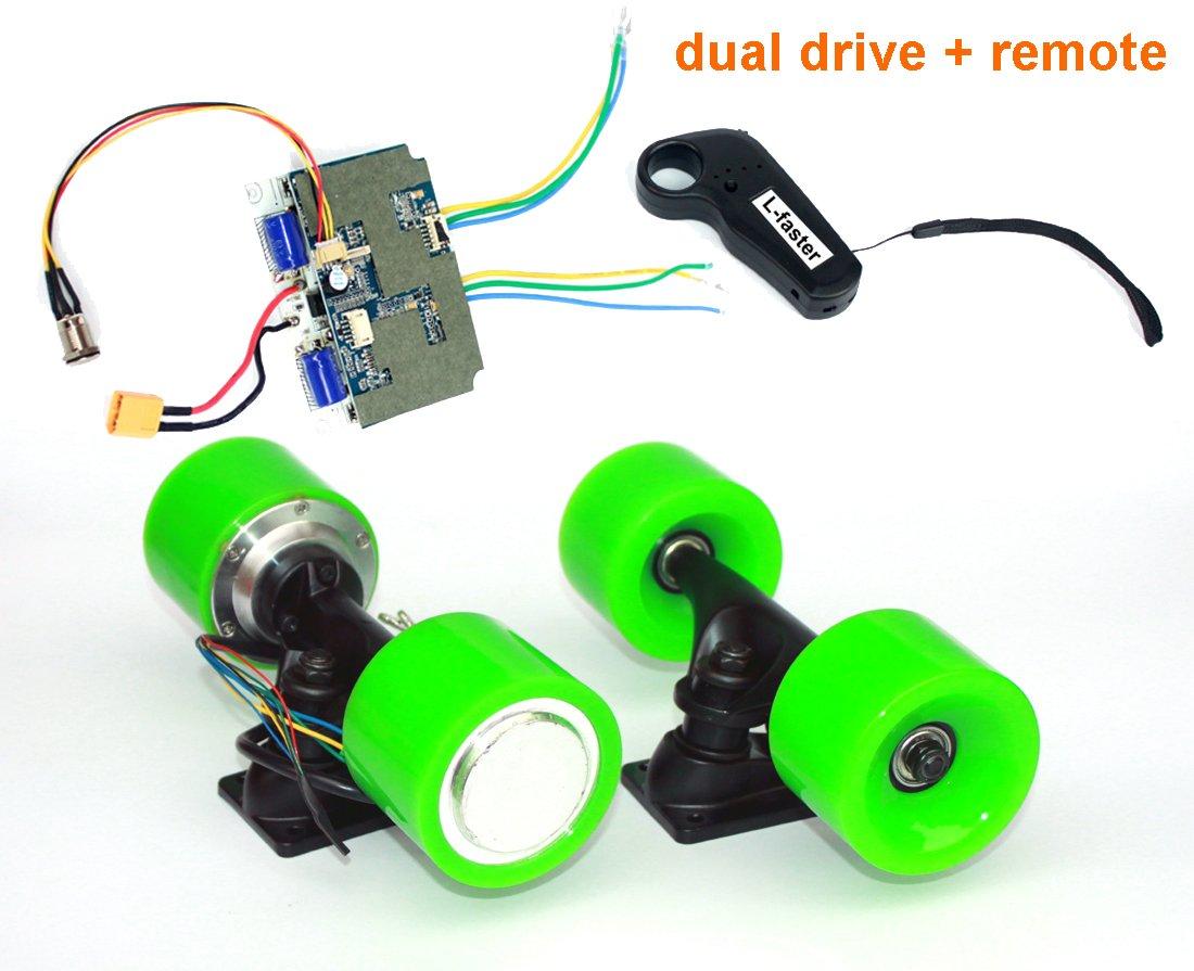 電動スケートボードブラシレスハブモーターキットdiy子e-ボード電動4輪スケートボードデュアルドライブ変換キットでリモート B07F29QXBJ Green kit Green kit