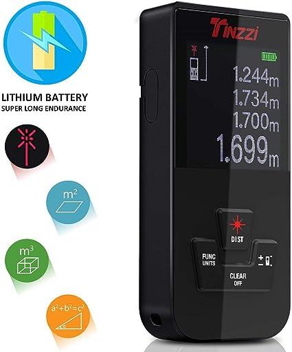 Nuova Versione Tinzzi Professionale Mini Metro Digitale con Retroilluminazione Distance Meter Telemetro Ricaricabile//USB Alimentato//Polveri e Spruzzi dacqua IP54 Misuratore Laser