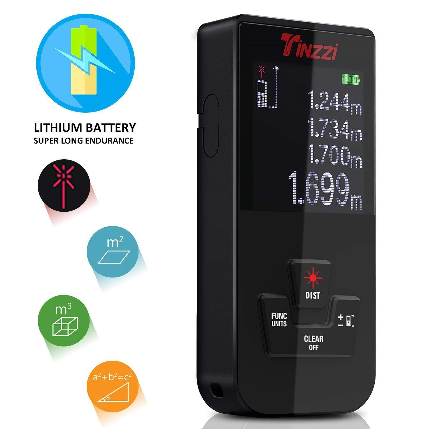 Laser Measure,Tinzzi Rechargeable 131Ft Mute Laser Distance Meter with LCD Backlit Datas Memory Function, Single-distance Measurement/Continuous Measurement/Area/Volume/Pythagorean Modes