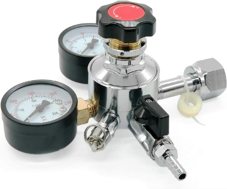 PERA Beer CO2 Keg Regulator Beer Regulator with Safety Pressure Valve, CGA-320 Inlet for Beer Brewing Wine Making