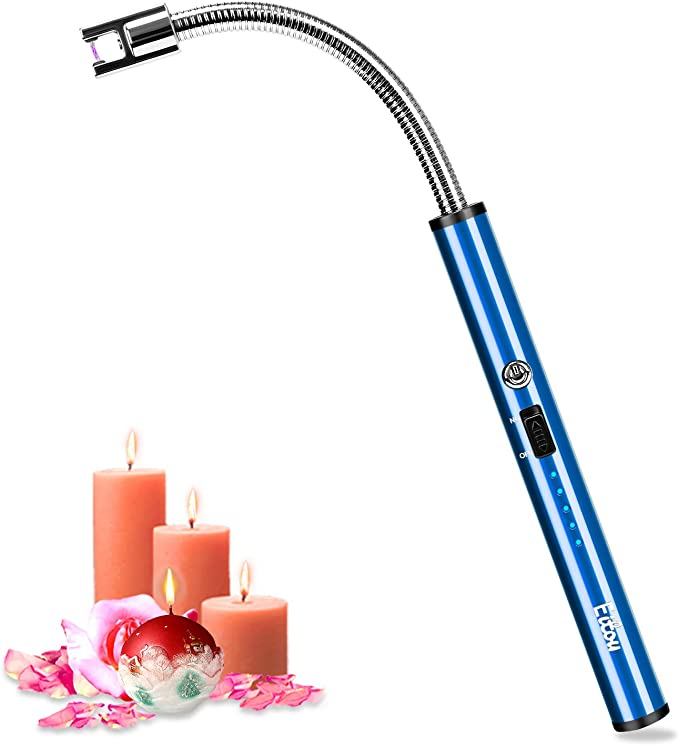 Amazon.com: Candle Lighter,Eitou USB Electronic Arc Lighter with LED Rechargeable Electric Lighter Long Flexible Neck for Camping Cooking BBQs Fireworks(Blue): Health & Personal Care