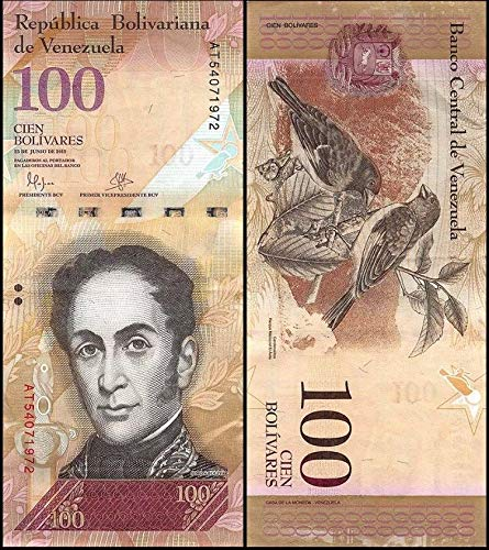 (Venezuela Paper Banknotes 100 Bolivares, 2007-17, P-93, aUNC World Currency)