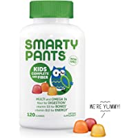 SmartyPants Kids Complete and Fiber Gummy Vitamins: Multivitamin, Gluten Free, Prebiotic Fiber, Omega 3 Fish Oil (DHA/Epa Fatty Acids), Folate (methlyfolate),Vitamin D3, 120 Count (30 Day Supply)