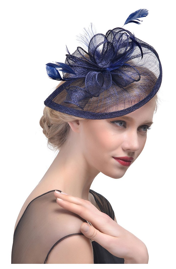 Obosoyo Sinamay Fascinator Hat Feather Mesh Net Veil Cocktail Party Hat Flower Derby Hat for Women Navy