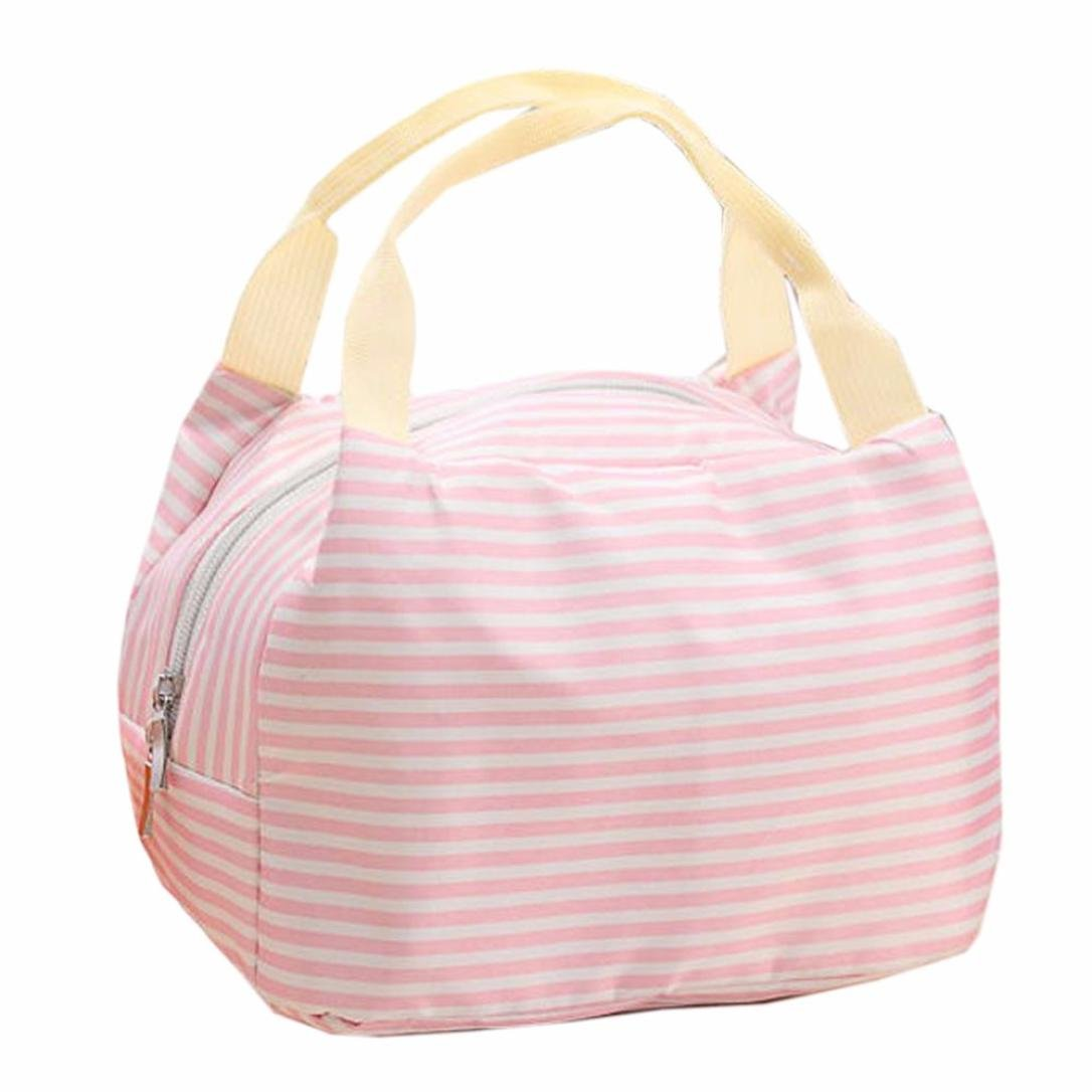 Lunch Bag,IEason Clearance Sale! Portable Lunch Bag Tote Picnic Insulated Cooler Zipper Organizer LunchBox (Pink)