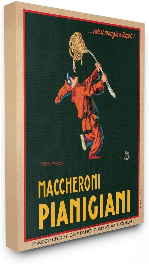 Stupell Industries Maccheroni Pianigiani Vintage Poster Food, Design by Marcello Dudovich Wall Art, 16 x 20, Canvas