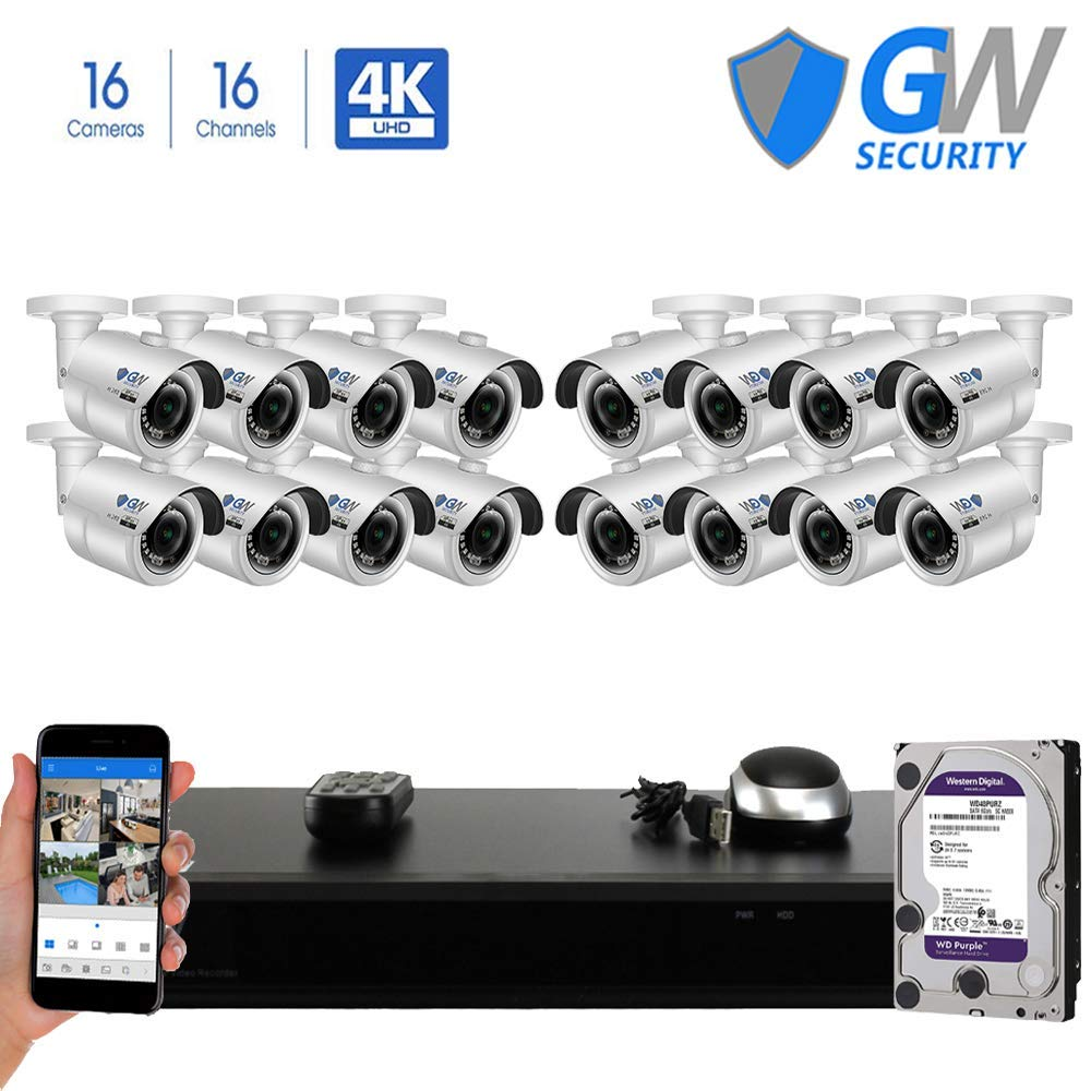 GW 16 Channel H.265 PoE NVR Ultra-HD 4K (3840x2160) Security Camera System with 16 x 4K (8MP) 2160p IP Camera, 100ft Night Vision, Outdoor Indoor Surveillance Camera by GW