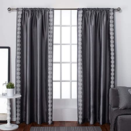 Exclusive Home Curtains Tiffany Faux Silk Rod Pocket Window Curtain Panel Pair, Black Pearl, 54×84