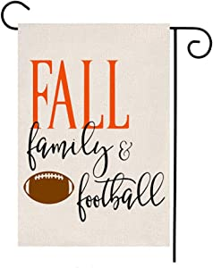 MFGNEH Fall Family Football Waterproof Garden Flag Vertical Double Sided Fall Decor Yard Outdoor Decorative Flag 12.5 x 18 Inch,Fall Decorations