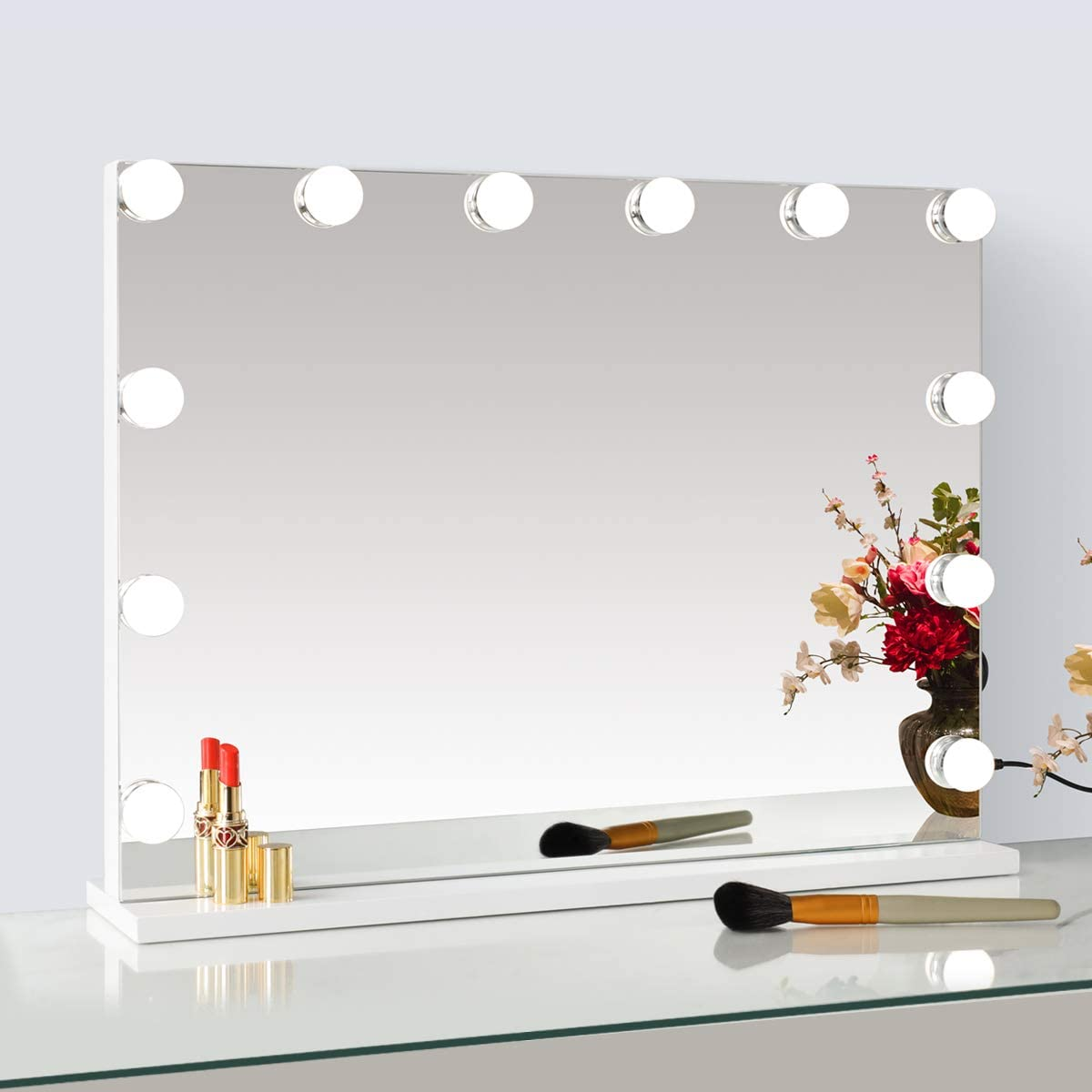 SHOWTIMEZ Lighted Makeup Vanity Mirror, Frameless Light-up Hollywood Tabletops Cosmetic Display with USB Charging Port, Dimmable Bulbs, 3 Color Tone Settings, 23 W x 18 H, White