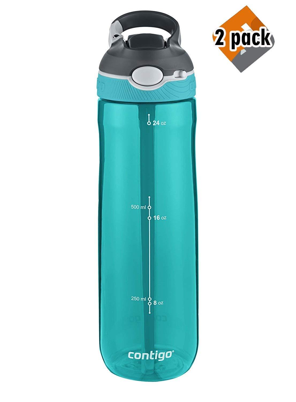 Contigo Autospout Ashland Water Bottle, 24 oz, Scuba, 2 Pack