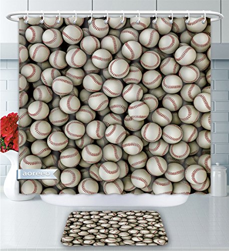 Aoreeo Bathroom Two-Piece Set Sports Collection Baseballs Sport Emblem Major League Competition Softball Field Artwork Shower Curtain Bath Rug Set, 71