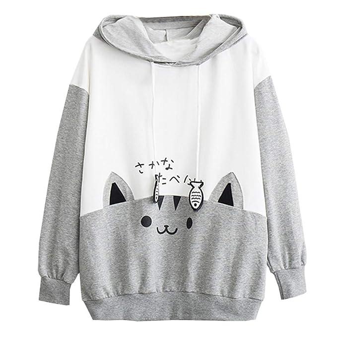Lenfesh Sudadera con Orejas de Gato Casual Manga Larga Kawaii Sudaderas Adolescentes Chicas Tumblr Blusa Top Camisa