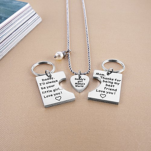 ELOI Gifts for Daughter, Daddy's Girl Mommy's World Mother Father Necklace Keychain Pendant ...