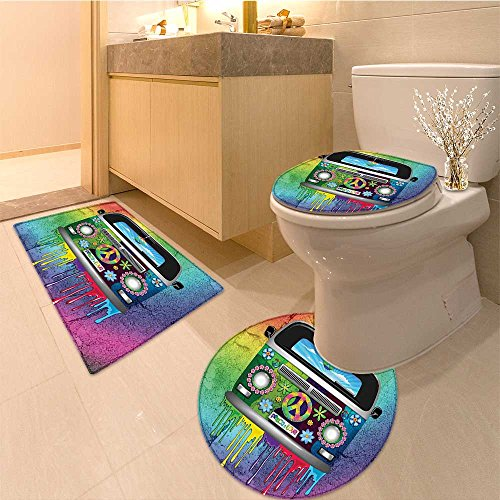 3 Piece Extended bath mat set Old Style Van with Dripping bo Paint Mid s Youth Revolution Movement Theme Extralong Non Slip Bathroom Rugs ()