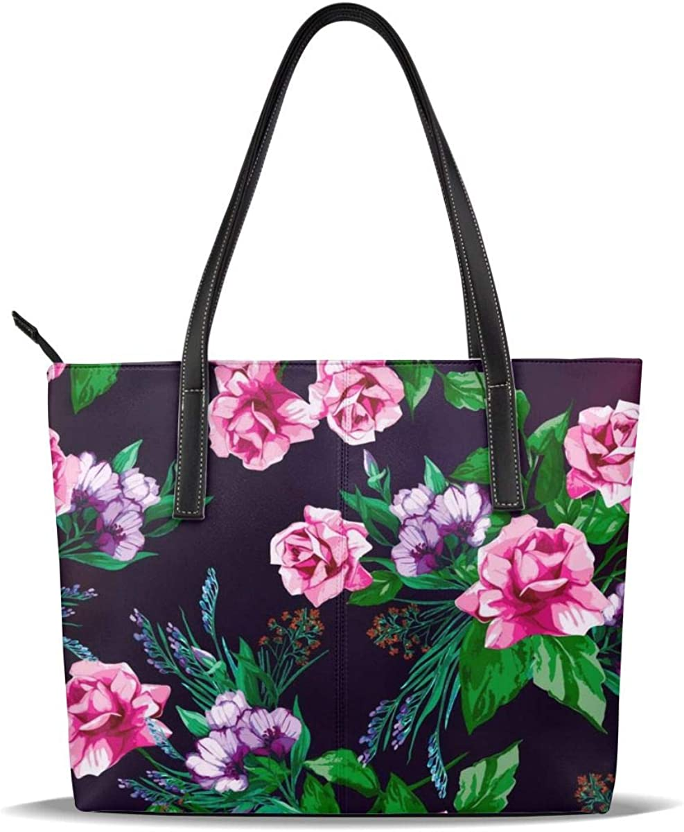 Beautiful Flowers Bloom Pink Leisure Fashion PU Leather Handbag for Women Large Tote Bag Shoulder Bag for Gym Beach Travel Daily Bags