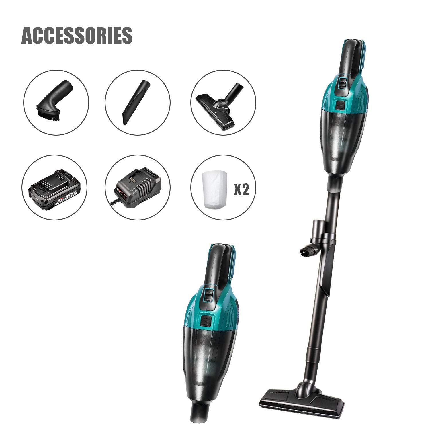 Cordless Vacuum Cleaner, NEU MASTER Lightweight Stick Vacuum Cleaner with Rechargeable Lithium Ion Battery & 2 Detachable Filter NVC0035