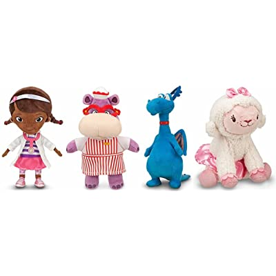 Disney Store/Disney Jr. Doc McStuffins, Hallie, Stuffy and Lambie Plush Doll Gift Set of 4 Stuffed Animal Toys: Toys & Games
