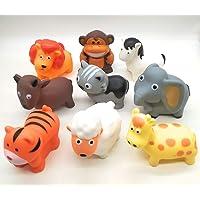 FunBlast Animal Friends Chu Chu Bath Toys | Toddler Baby Bathtub Bathing Chu Chu Squeeze Bath Toys Non-Toxic BPA Free (Set of 9)