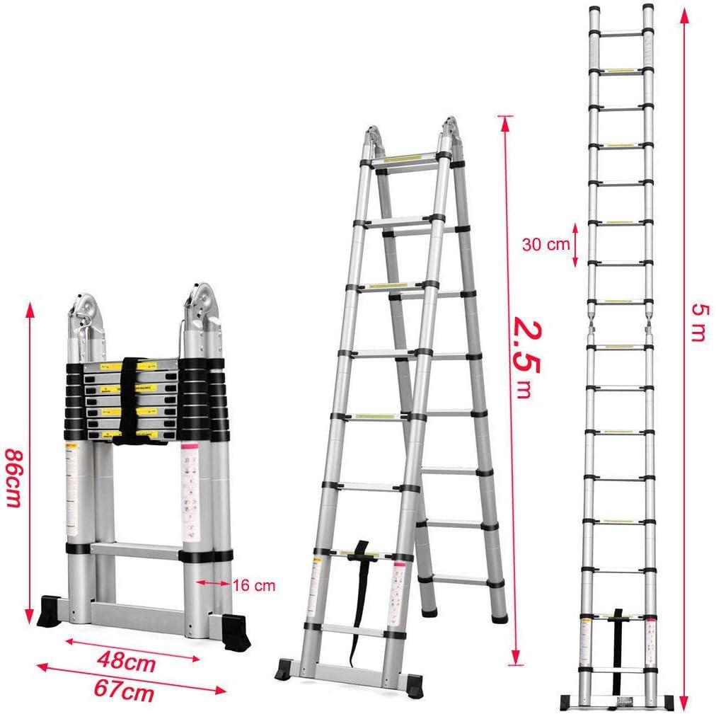 5 m Teleskopleiter tragbar Mehrzweck-Leiter Sicherheitsverriegelung A Rahmen /& gerade Leiter f/ür drinnen und drau/ßen Aluminium rutschfest ausziehbar belastbar bis 150 kg