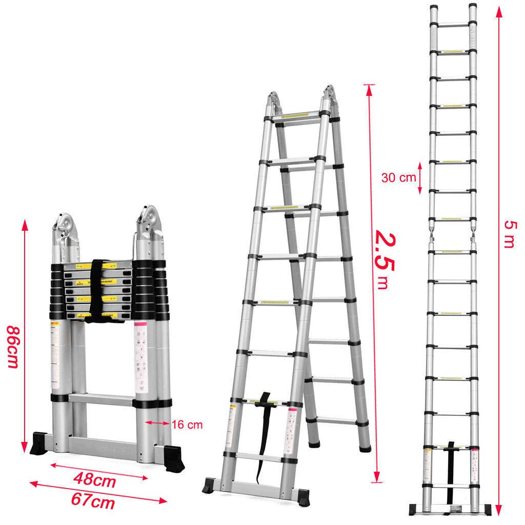 Strong Aluminum Frame Anti-Slip Rubber Support Ideal Accessorry for Telescopic Ladders//Multi-Purpose Ladders Avoid Ladder Sliding V-Shaped Ladder Stand Off//Ladder Stay