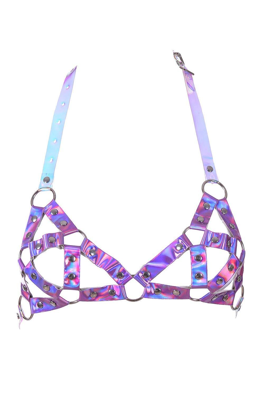 The LUMi Shop Rave Renegade Body Harness Bra Top w/Adjustable Strap - Festival Fashion for Parties, Club, Beach & Swimwear (Baby Purple)