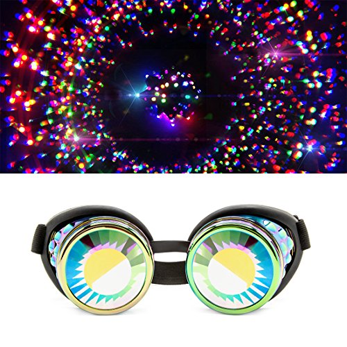 GloFX Polychrome Wormhole Kaleidoscope Goggles - Festival Rave Costume Cosplay Prism EDM 3D Welding Gothic Goggles