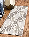 Custom Size Runner Rug Damask Brown Color 31 inch Wide Select Your Length Non-Slip (Skid Resistance) Rubber Backing 18 feet x 31 inch