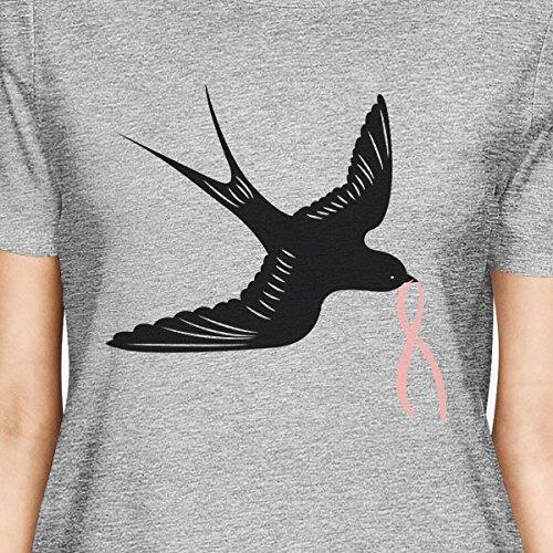 Birds corta and 365 taglia Ribbon T Pink donna manica unica shirt Swallows Stampa qafH76