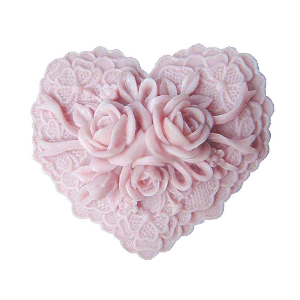 Beautiful Delicate Flower Floral Heart Shape Silicone Soap Mold Craft DIY Handmade Soap Molds