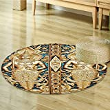 Nalahomeqq Rustic Decor Collection Thai Gate at Wat Sirisa Tong Thailand Buddhism Architecture History Spiritual Picture Polyester Fabric Room Circle carpet non-slip Golden Teal-Diameter 160cm(63'')