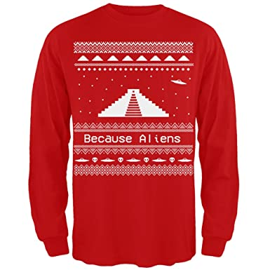 Amazon.com: Ancient Aliens Ugly Christmas Sweater Red Long Sleeve ...