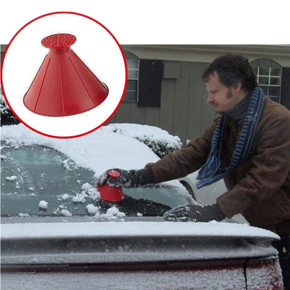 Highpot Scrape A Round Ice Scraper Auto Snow Brush, Windshield Snow Cover Ice Removal Wiper, Cone-Shaped Snow Shovel Tool (2PCS)